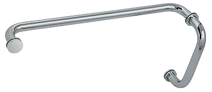 "CRL Polished Nickel 8"" Pull Handle and 18"" Towel Bar BM Series Combination With Metal Washers CRL BM8X18PN"