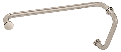 "CRL Satin Nickel 8"" Pull Handle and 18"" Towel Bar BM Series Combination With Metal Washers CRL BM8X18SN"