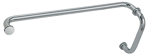 """CRL Polished Nickel 8"""" Pull Handle and 24"""" Towel Bar BM Series Combination With Metal Washers CRL BM8X24PN"""