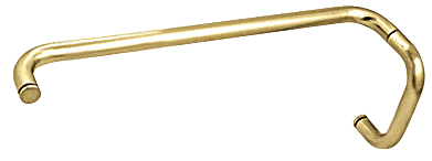 """CRL Polished Brass 6"""" Pull Handle and 18"""" Towel Bar BM Series Combination Without Metal Washers CRL BMNW6X18BR"""
