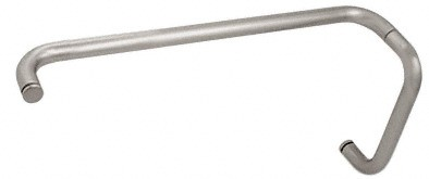Satin Nickel (BM Series) 8 inch Pull Handle 18 inch Towel Bar Combination without Metal Washers - CRL BMNW8X18SN