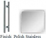Polished Stainless 8 inch Center-to-Center X 12 inch Overall Back to Back Tubular 3/4 inch Diameter Ladder-style Pull Handle with Optional Metal Washers - BNTT60812P32