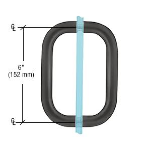 "CRL Matte Black 6"" Back-to-Back Solid Brass 3/4"" Diameter Pull Handles Without Metal Washers CRL BPD6MBL"
