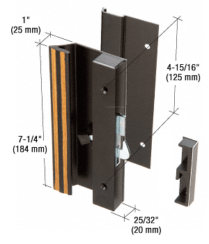 "CRL Black Low Profile Hook Style Surface Mount Handle 4-15/16"" Screw Holes CRL C1007"