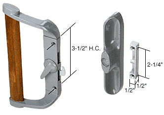 "CRL Aluminum/Wood Hook-Style Surface Mount Handle 3-1/2"" Screw Holes - Non-Keyed CRL C1016"