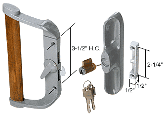 """CRL Aluminum/Wood Hook-Style Surface Mount Handle 3-1/2"""" Screw Holes - Keyed CRL C1017"""
