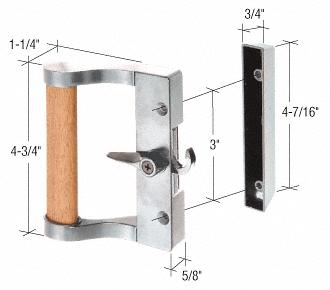 "CRL Aluminum/Wood Hook Style Surface Mount Handle 3"" Screw Holes CRL C1023"