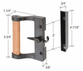 "CRL Black/Wood Hook Style Surface Mount Handle 3"" Screw Holes CRL C1024"