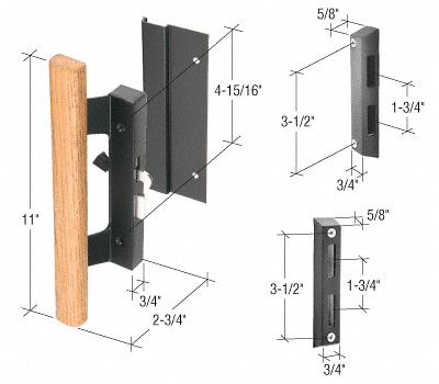 """CRL Wood/Black Hook-Style Surface Mount Handle with 4-15/16"""" Screw Holes CRL C1061"""