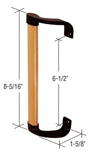 Wood/Black Inside Pull; 6-1/2 inch Screw Holes - CRL C1068