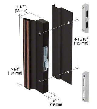 "CRL Black Hook-Style Surface Mount Handle 4-15/16"" Screw Holes CRL C1071"