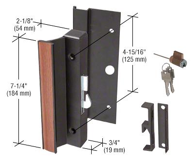 "CRL Black Keyed Hook-Style Surface Mount Handle 4-15/16"" Screw Holes for Arcadia® Doors CRL C1094"