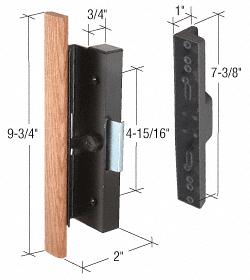"CRL Wood/Black Clamp-Style Surface Mount Handle 4-15/16"" Screw Holes CRL C1126"