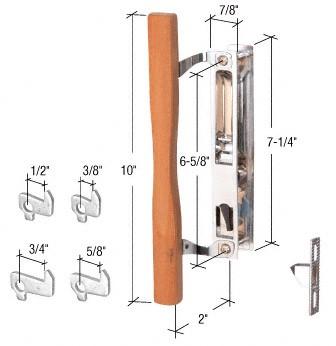 Wood/Chrome Flush Mount Keyed Handle Set 6-5/8 Inch Screw Holes - CRL C1149