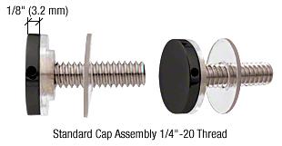 """CRL Matte Black 3/4"""" Diameter Standoff Cap Assembly CRL CAP34MBL"""
