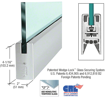 "CRL Brushed Stainless 1/2"" Glass 4"" Square Door Rail Without Lock - 41"" Length CRL CDR4SBS12S"