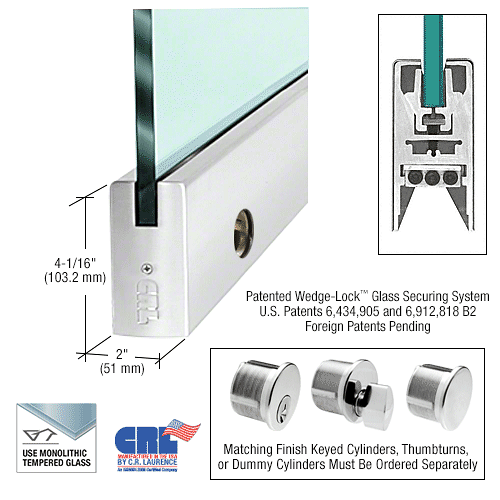 "CRL Polished Stainless 1/2"" Glass 4"" Square Door Rail With Lock - 41"" Length CRL CDR4SPS12SL"