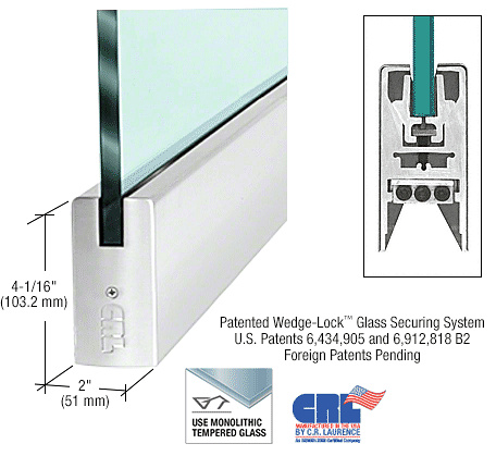 "CRL Polished Stainless 1/2"" Glass 4"" Square Door Rail Without Lock - 41"" Length CRL CDR4SPS12S"
