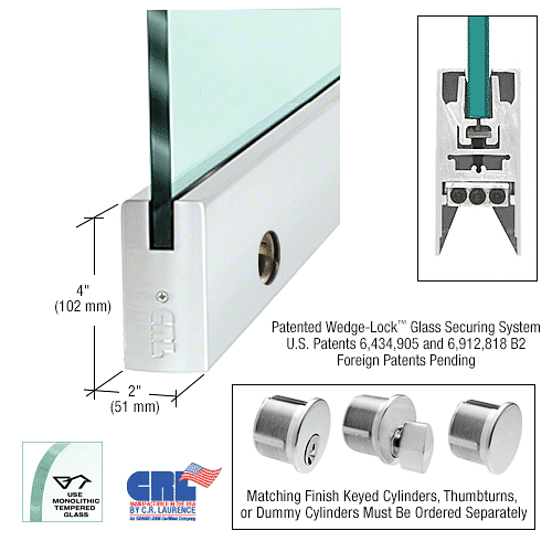 "CRL Satin Anodized 1/2"" Glass 4"" Square Door Rail With Lock - 41"" Length CRL CDR4SSA12SL"