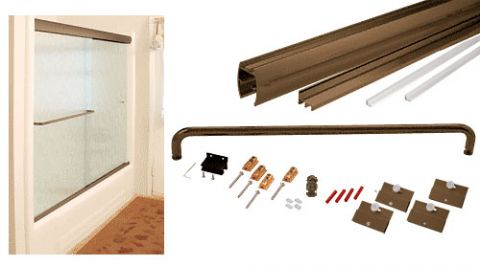 Oil Rubbed Bronze Cottage CK Series Sliding Shower Door Kit 60 inch x 60 inch with Clear Jambs for 1/4 inch Glass - CRL CK146060ORB