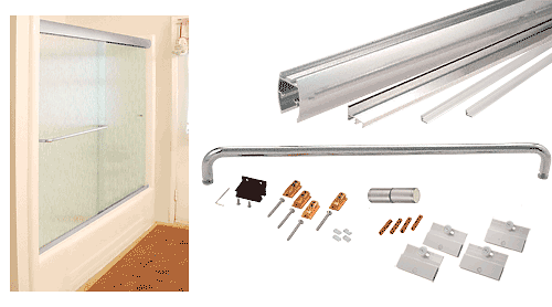 """CRL Brite Anodized 60"""" x 60"""" Cottage CK Series Sliding Shower Door Kit with Clear Jambs for 1/4"""" Glass CRL CK146060BA"""