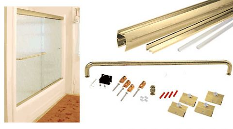 Brite Gold Anodized Cottage CK Series Sliding Shower Door Kit 60 inch x 60 inch with Clear Jambs for 1/4 inch Glass - CRL CK146060BGA