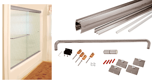 """CRL Brushed Nickel 60"""" x 60"""" Cottage CK Series Sliding Shower Door Kit with Clear Jambs for 1/4"""" Glass CRL CK146060BN"""