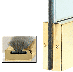 """CRL Polished Brass Weatherstrip Kit with Clear Polycarbonate Channel for 4"""" Square Rail CRL CSW12PB"""