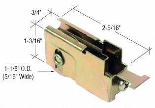"CRL 1-1/8"" Steel Sliding Glass Door Roller With 23/32"" Wide Housing for T.M. Cobb Doors CRL D1524"