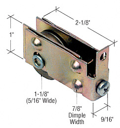 "CRL 1-1/8"" Steel Sliding Glass Door Roller with 7/16"" Wide Housing for Viking Doors CRL D1540"