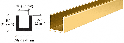 CRL Brite Gold Anodized Aluminum Single Channel Extrusion CRL D3021BGA