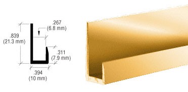 Buffed Brite Gold Anodized Finish Low Profile 1/4 inch J Channel - CRL D514BGA_CS