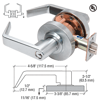 CRL Brushed Chrome Heavy-Duty Grade 2 Lever Locksets Entrance - Schlage® 6-Pin CRL D65ENT