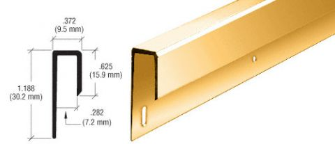 Dipped Brite Gold Anodized 1/4 inch Deep Nose Aluminum J Channel - CRL D645DBGA_CS