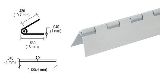 "CRL Satin Anodized 1/2"" Aluminum Piano Hinge - 72"" CRL 6D667A"
