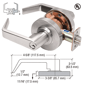 CRL Brushed Nickel Heavy-Duty Grade 2 Lever Locksets Storeroom - Schlage® 6-Pin CRL D75STRBN