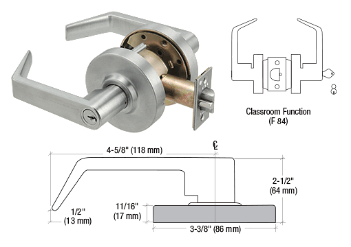 CRL Brushed Chrome Grade 1 Classroom Lever Locksets - Schlage® 6-Pin CRL D90CLS