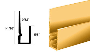 Buffed Bright Gold Anodized 1/4 inch Deep Nose Indented J Channel - CRL D932BGA_CS