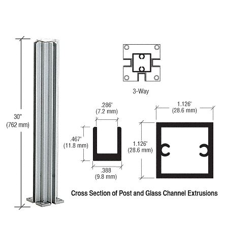 "CRL Satin Anodized 30"" 3-Way Design Series Partition Post CRL D990A303W"