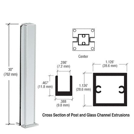 "CRL Satin Anodized 30"" Center Design Series Partition Post CRL D990A30C"
