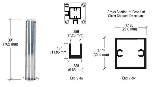 "CRL Brite Anodized 30"" Corner Design Series Partition Post CRL D990BA30CR"