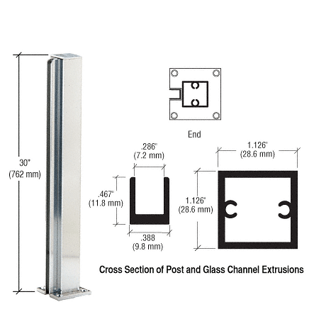"CRL Brite Anodized 30"" End Design Series Partition Post CRL D990BA30E"