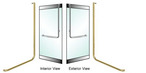 """CRL-Blumcraft® Satin Brass Right Hand Reverse Rail Mount """"D"""" Exterior Top Securing Dummy Handle CRL DH100D3RSB"""