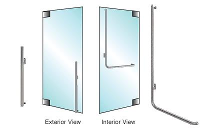 CRL-Blumcraft® Brushed Stainless Left Hand Reverse Glass Mount 'KS' Handle CRL DH100KS4GBS