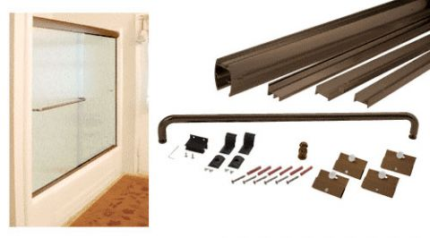 Oil Rubbed Bronze Cottage DK Series Sliding Shower Door Kit 60 inch x 60 inch with Metal Jambs for 1/4 inch Glass - CRL DK146060ORB