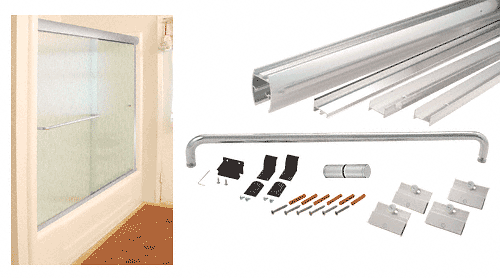 "CRL Brite Anodized 60"" x 72"" Cottage DK Series Sliding Shower Door Kit with Metal Jambs for 1/4"" Glass CRL DK146072BA"