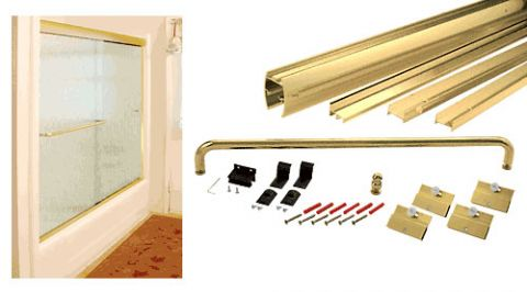 Brite Gold Anodized Cottage DK Series Sliding Shower Door Kit 60 inch x 60 inch with Metal Jambs for 1/4 inch Glass - CRL DK146060BGA