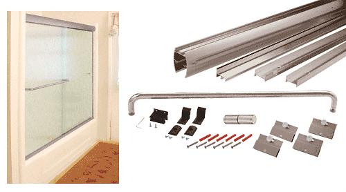 "CRL Brushed Nickel 60"" x 60"" Cottage DK Series Sliding Shower Door Kit with Metal Jambs for 1/4"" Glass CRL DK146060BN"