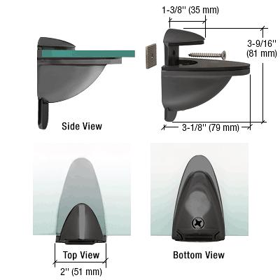 CRL Black Heavy-Duty Adjustable Shelf Bracket CRL DL661BL