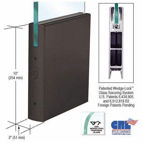 "CRL Black Bronze 1/2"" Glass 10"" Square Door Rail Without Lock - 35-3/4"" Length CRL DR10SDU12S"